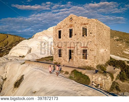 Punta Bianca, Agrigento In Sicily Italy White Beach With Old Ruins Of An Abandoned Stone House On Wh