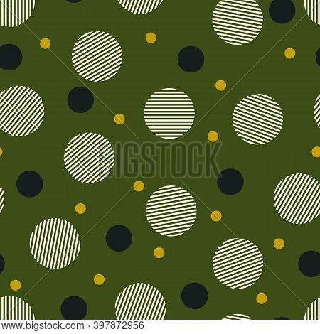 Circles Seamless Pattern. Geometric Motif. Rounds Background. Circle Shapes Wallpaper. Circular Figu