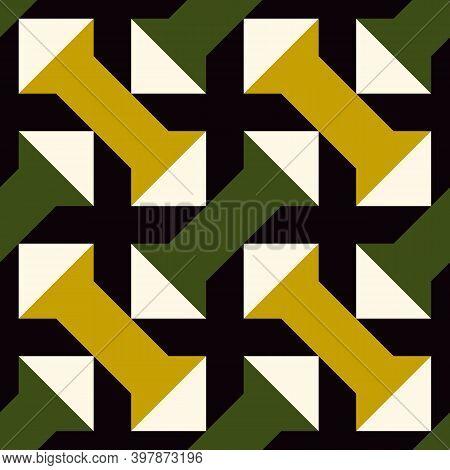 Crosses, Triangles, Figures Seamless Pattern. Folk Background. Ethnic Ornament. Geometric Wallpaper.