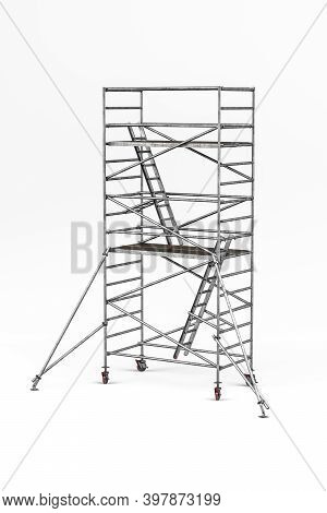 Mobile Scaffolding Used In Construction Isolated On White Background - 3d Render