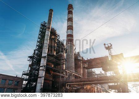 Large Blast Furnace, Heavy Metallurgy, Industrial Metal Production, Industrial Landscape.