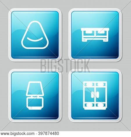 Set Line Pouf, Chest Of Drawers, Table Lamp And Wardrobe Icon. Vector
