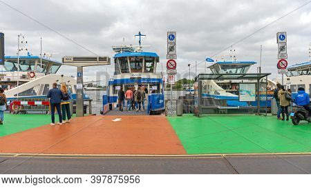 Amsterdam, Netherlands - May 18, 2018: Ferry Boat Service For Pedestrian Passengers In Amsterdam, Ho