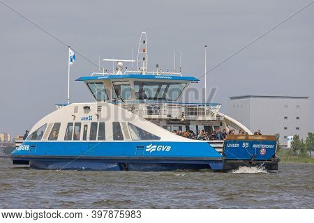 Amsterdam, Netherlands - May 17, 2018: Ferry Boat Service For Pedestrians Travel In Amsterdam, Holla