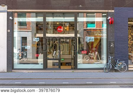 Amsterdam, Netherlands - May 15, 2018: Official Leica Camera Shop In Amsterdam, Holland.
