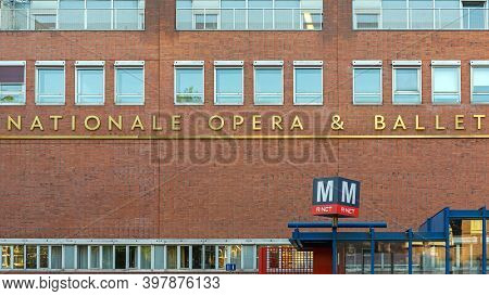 Amsterdam, Netherlands - May 14, 2018: Gold Sign National Opera And Ballet In Amsterdam, Holland.