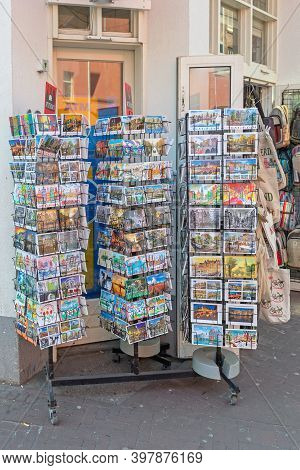 Amsterdam, Netherlands - May 16, 2018: Postcards At Rack In Front Of Souvenir Shop In Amsterdam, Hol