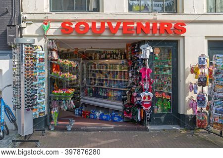 Amsterdam, Netherlands - May 16, 2018: Souvenirs Shop For Tourists At Street In Amsterdam, Holland.