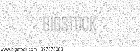 Monochrome Background With Hand Drawn Hearts. Seamless Light Pattern. Valentine's Day. Black And Whi