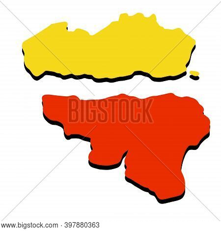 Map Of Wallonia And Flanders. Area And Flag Of Belgium. Geography Of Europe. State National Symbol.