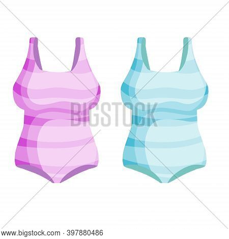 Red Bathing Suit. Modern Fashionable One-piece Swimsuit For Swimming And Sports. Flat Cartoon Illust