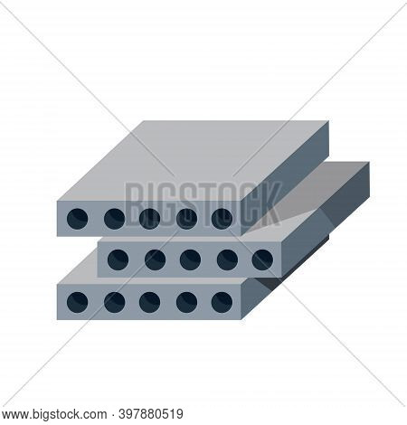 Reinforced Concrete Block. Building Material. The House Panel. Group Of Wall Element. Isometric Illu