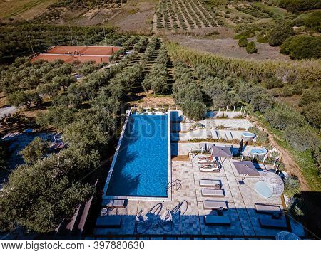 Luxury Resort With A View Over The Wine Field In Selinunte Sicily Italy. Infinity Pool With A View O
