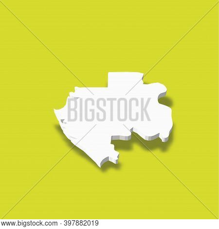Gabon - White 3d Silhouette Map Of Country Area With Dropped Shadow On Green Background. Simple Flat