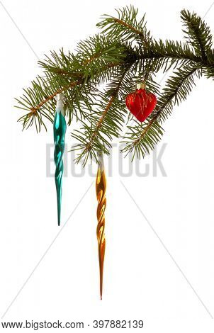 Decorated Christmas tree branch isolated on white background