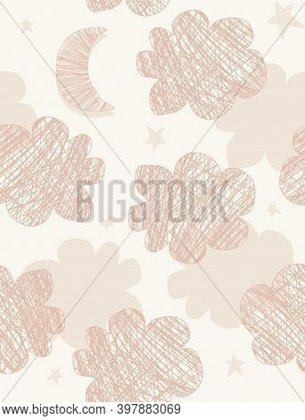 Seamless Vector Pattern With Hand Drawn Clouds And New Moon Isoleted On A Beige Background. Cute Clo