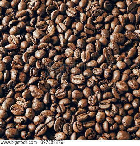 Roasted Coffee Bean Background Pattern. Aroma Caffeine Seed Above View. Cafe Wall Design Image. Coff