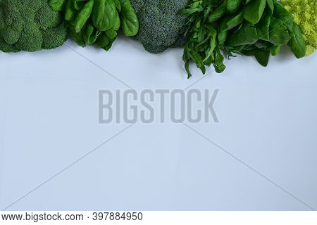 Different Types Of Cabbage And Spinach Isolated On White Background. Fresh Organic Raw Greens And Ve