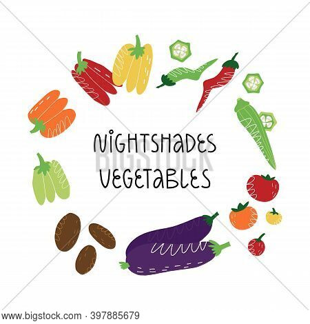 Nightshades Vegetables Frame With Hand Lettering. Vector Isolated Illustration.