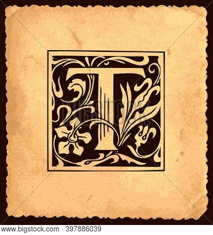 Black Initial Letter T With Baroque Decorations On An Old Paper Background In Vintage Style. Beautif