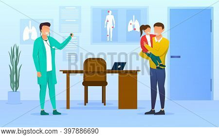 Doctor And Visitors In Pediatrician Office. Pediatrist In Uniform Meet Father And Daughter. Healthca