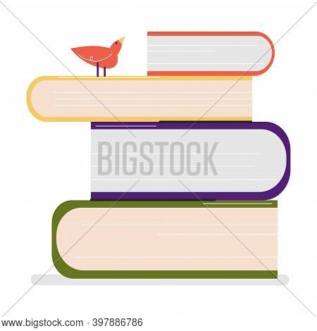 Heap Of Colorful Books With Little Bird On Top In Library