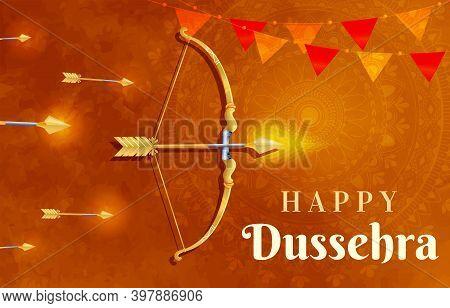 Happy Dussehra Indian Holiday Template, Postcard, Banner. Vijayadashami Or Dussehra Is Hindu Festiva