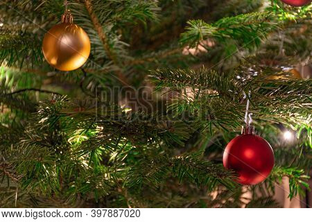 Beautiful Christmas Tree With Ornaments, Yellow Warm Lights And Golden And Red Balls, Christmas Back
