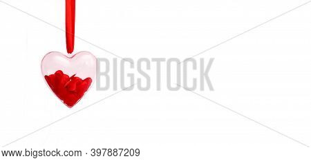 Transparent Heart With Red Confetti Inside On A White Isolated Background. Valentines Day Greeting C