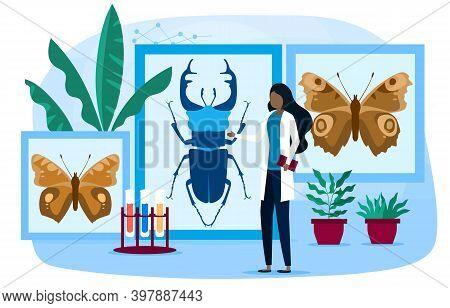 Biology And Entomology Abstract Concept. Botany, Zoology, Entomology. Woman Scientist Exploring Natu