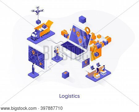 Logistics Isometric Web Banner. Express Delivery, Logistics Company Isometry Concept. Freight Shippi