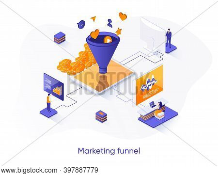 Marketing Funnel Isometric Web Banner. Marketing Research And Strategy Planning Isometry Concept. At