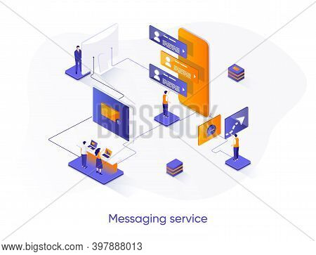 Messaging Service Isometric Web Banner. Internet Messenger Mobile Application Isometry Concept. Onli