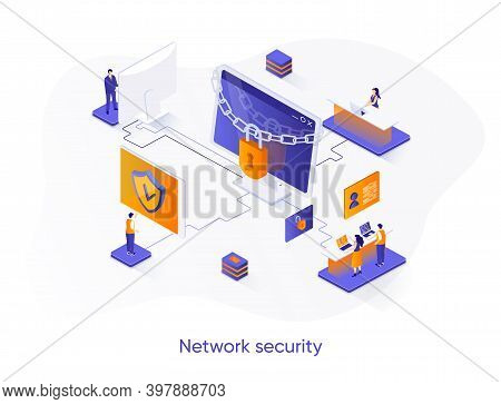 Network Security Isometric Web Banner. Firewall Software, Password Identification And Privacy Isomet