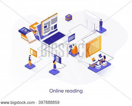 Online Reading Isometric Web Banner. Distance Education And Knowledge Isometry Concept. E-book Readi