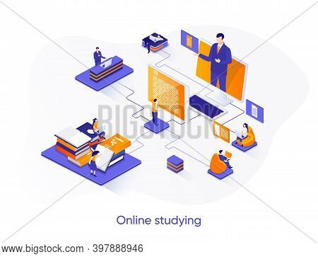 Online Studying Isometric Web Banner. Distance Learning Platform Isometry Concept. Online Education