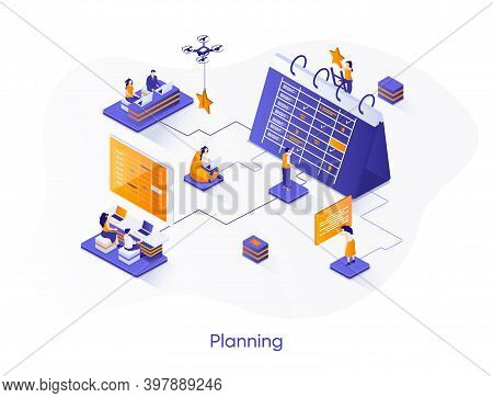 Business Planning Isometric Web Banner. Business Planning, Organizing Work Activities And Tasks Isom