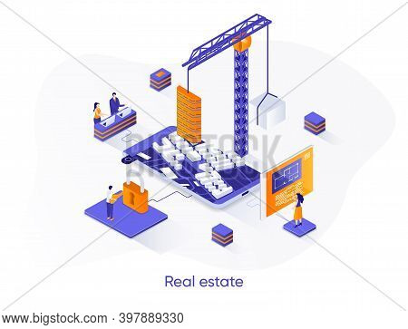 Real Estate Isometric Web Banner. Residential And Commercial Real Estate Property Isometry Concept.