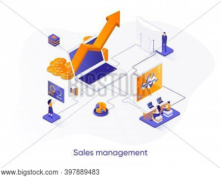 Sales Management Isometric Web Banner. Developing Sales Force Isometry Concept. Coordinating Sales O