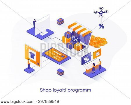 Shop Loyalty Program Isometric Web Banner. Marketing Strategy Of Attracting, Retaining Customers Iso