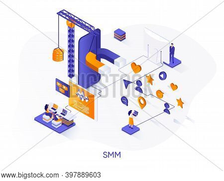 Smm Isometric Web Banner. Digital Marketing, Advertising Campaign Isometry Concept. Announcement And