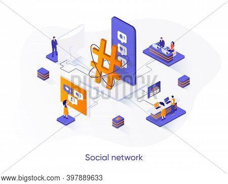 Social Network Isometric Web Banner. Internet Community Communication Isometry Concept. Social Media