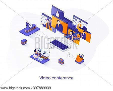 Video Conference Isometric Web Banner. Teleconference And Video Call Solution Isometry Concept. Onli