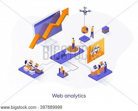Web Analytics Isometric Web Banner. Online Business Analytics Isometry Concept. Data Analysis Servic