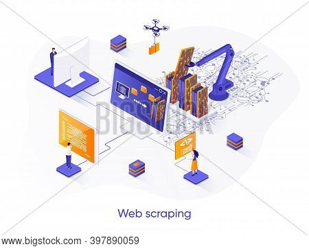 Web Scraping Isometric Web Banner. Data Extraction Software Isometry Concept. Process Of Automatic C