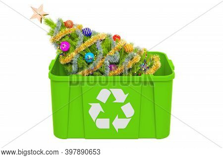 Recycling Trashcan With Christmas Tree. Recycle Christmas Tree Concept, 3d Rendering  Isolated On Wh