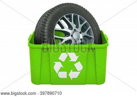 Recycling Trashcan With Car Wheel, 3d Rendering Isolated On White Background