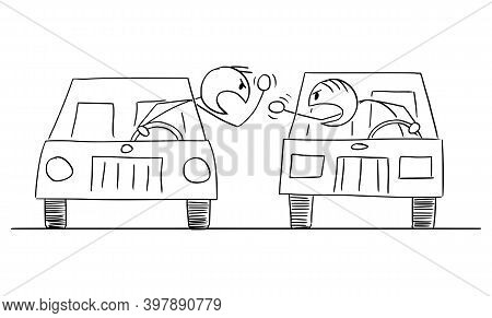 Vector Cartoon Stick Figure Illustration Of Two Aggressive Angry Car Drivers Arguing Or Fighting.