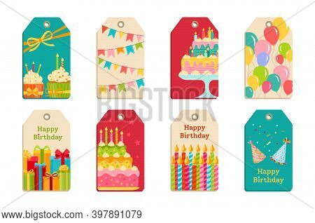 Birthday Party Tags Set Celebration Label Vector