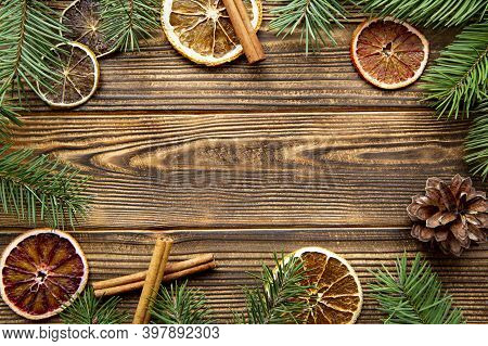 Christmas Wooden Background, Copy Space For Text. Bright Colorful Holiday Decorations. Top View.